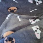 Double Sided Dog Blanket - Grey Pugs