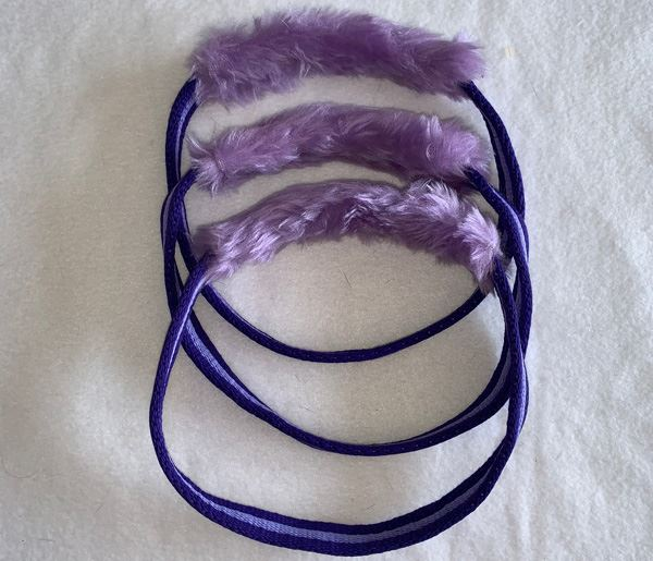 Lilac Faux Fur Loopies Dog Tug Toy.