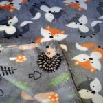 Double Sided Dog Blanket - Grey Hedgehog & Fox